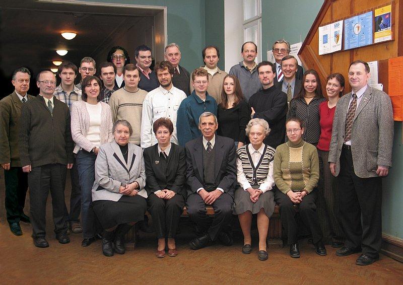 Second row standing: V. Prituzhalov, A.V. Olenev, O. Dityatiev, L.N. Reshetova, K.O. Znamenov, V.A. Dolgikh, P.S. Berdonosov, I.V. Morozov, Yu.M. Korenev
